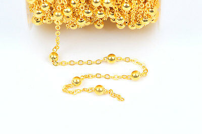1yd Gold Plate Ball Chain, Bead Chain, Round Balls are 4mm fch0334a