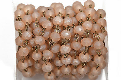 1yd FROSTED CARAMEL PEACH Crystal Rondelle Rosary Chain, bronze, 8mm  fch0569a