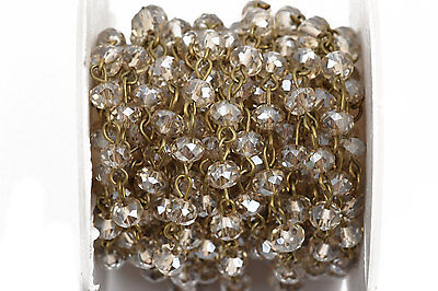 1yd GoldEN SHADOW Crystal Rondelle Rosary Chain, bronze, 6mm beads fch0570a