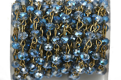 1yd Blue AB Crystal Rondelle Rosary Chain, bronze, 6mm beads fch0510a