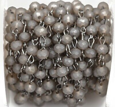 1yd MATTE GRAY Crystal Rondelle Rosary Chain, gunmetal, 6mm beads fch0484a