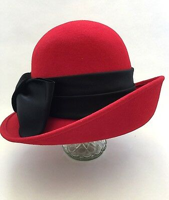 Vintage Red Hat 100% Wool Black Band and Bow