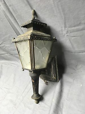 Vintage Brass Lantern Wall Sconce Light Fixture Cracled Glass Panels 110-17E