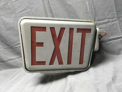 Vintage Industrial Art Deco Theater Double Sided Exit Sign Light Fixture 211-17E