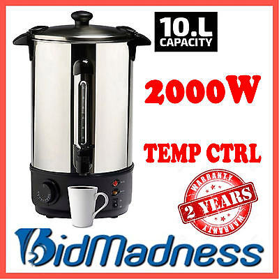 New Stainless Steel 10 Litre 2000W Hot Water Boiler Urn Urnie W/ Temp Ctrl