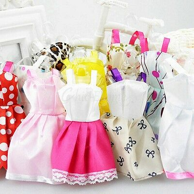 10pcs Fashion Handmade barbie doll Party Dress Clothes vintage doll dress Outfit