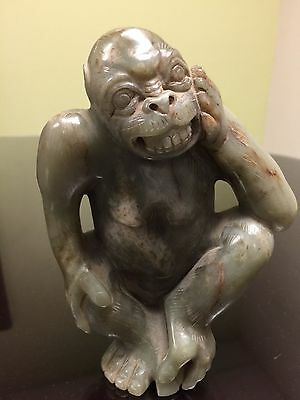 Unique and Unusual Chinese Jade Monkey Statue