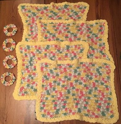 Retro Kitsch KNITTED PLACEMATS Matching NAPKINS RINGS Set of 4