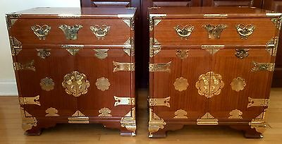 TWO TABLES VINTAGE ANTIQUE  ASIAN DANSU TANSU ROSEWOOD CHEST W/ Drawers