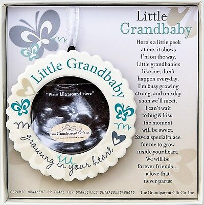 Little Grandbaby Growing In Your Heart Ultrasound Photo Ornament and Poem (Or...