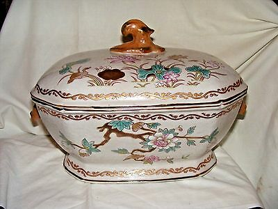 Chinese Export Soup Tureen with Decorative Boar Head Handles Famille Rose