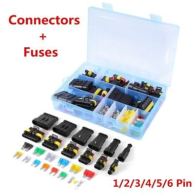 1/2/3/4/5/6 Pin Way+Fuses Sealed Waterproof Electrical Connector Plug Terminal