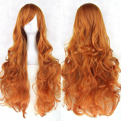 Fashion Women Lady Anime Long Curly Wavy Hair Party Cosplay Full Wig