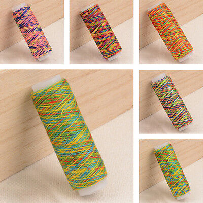 5pcs Rainbow Color Polyester Spool Embroidery Sewing Thread For Hand Machine Set