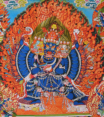 "50"" EMBROIDERED BROCADE WOOD SCROLL TIBETAN THANGKA: GREAT GUARDIAN YAMANTAKA tk"