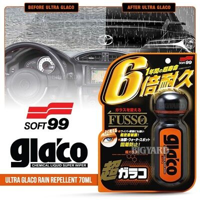 New SOFT99 Ultra Glaco 70ml Liquid Car Windshield Mirror Rain Water Repellent