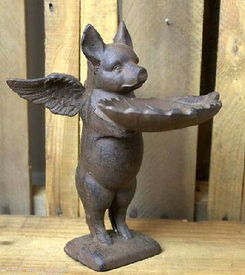 Flying Pig Bird Feeder Cast Iron Birdfeeder Winged Garden Statue Candy Dish
