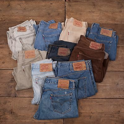 20x Pairs Grade B Wholesale Levis 501 Vintage Worn Denim Jeans Job Lot.