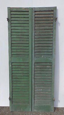 Pair Antique Window Wood Louvered Shutter Shabby Old Chic Vtg 66x15 372-17R