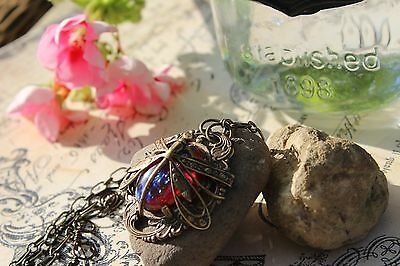 Dragonfly Fire Necklace Open Work Victorian Spring Gift Spectacular Free Ship