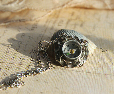 Compass Necklace real working lace and hammered edge setting Spring styles Sale