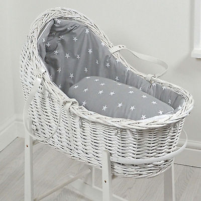 New 4Baby Grey White Stars White Wicker Baby Moses Basket / Royal Pod & Mattress