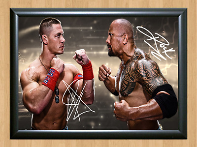 The Rock John Cena WWE Signed Autographed A4 Print Poster Photo Memorabilia wwf