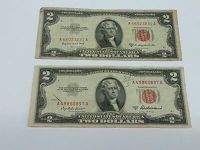 Lot of 2 1953 $2 Red Notes