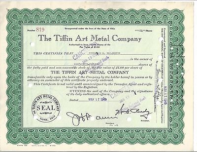The Tiffin Art Metal Company.......1949 Stock Certificate