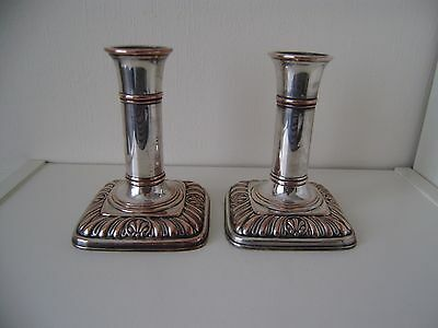 Silver Dwarf Pair Candlesticks Antique Plated Sheffield Plate On Copper 18thc