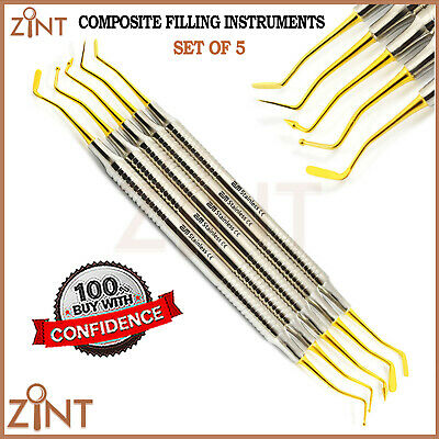 Composite Filling Gold Tip Restorative Carvers Dentale Laboratorio Plugger 5Pcs