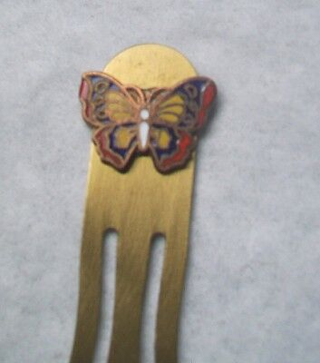 Vintage Solid Brass Bookmark-ENAMEL BUTTERFLY design accent- RED/YELLOW