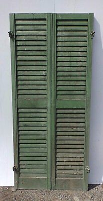 Pair Antique Window Wood Louvered Shutter Shabby Old Chic Vtg 66x15 377-17R