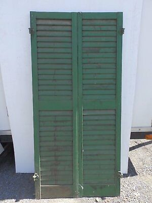 Pair Antique Window Wood Louvered Shutter Shabby Old Chic Vtg 62x15 380-17R
