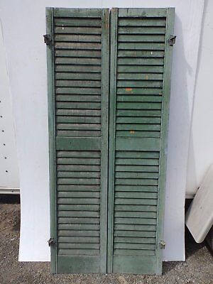Pair Antique Window Wood Louvered Shutter Shabby Old Chic Vtg 66x15 375-17R
