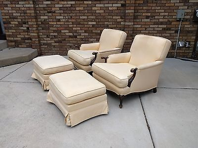 2 carved walnut FRENCH country bergere arm chairs w/ ottomans shabby antique