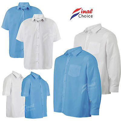 Mens Boys Kids Adults Long & Short Sleeve School Uniform White & Blue Shirts •