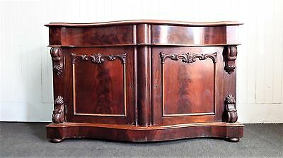 Antique Victorian flame mahogany chiffonier - double cupboard / sideboard