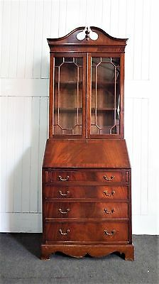 Antique style flame mahogany bureau - writing desk with drawers and bookcase