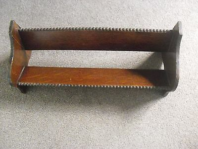 Vintage Large Dark Oak Book Rest Stand Trough Shelf, Ideal For Cd Or Dvd's Aswel