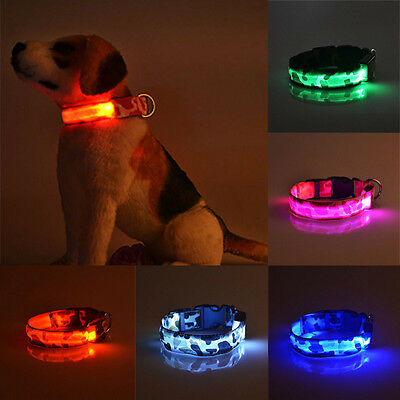 Pets Dog Cat LED Lights Flash Night Safety Waterproof Adjustable Collar 3 Modes