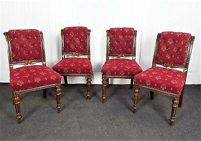 Antique Victorian set of 4 good quality carved oak button back dining chairs