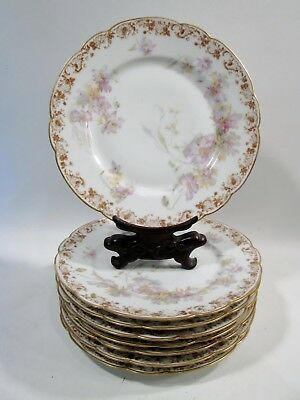 "Antique HAVILAND Limoges Big Purple Flowers & Gold Roses 8-9"" Plates JE Caldwell"