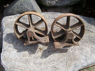 Pair Antique Vintage Cast Iron Industrial Cart Wheels Table Hit Miss Steampunk