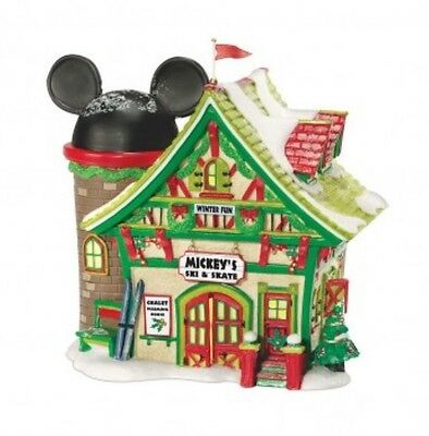 Disney's Dept 56 Holiday Village Mickey's Ski & Skate - Free Shipping