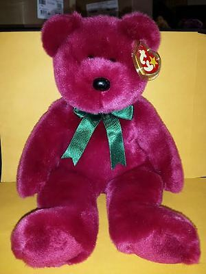 Ty Beanie Buddies Cranberry Teddy Bear Large 14 Inch Plush Stuffed Animal 1998