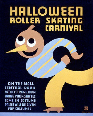 POSTER 1936 HALLOWEEN ROLLER SKATING CARNIVAL COUPLE VINTAGE REPRO FREE S//H