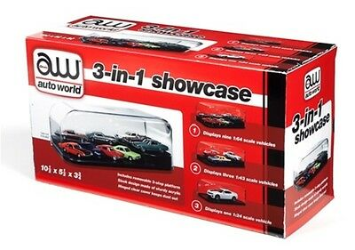 Auto World 3 in 1 Display Case w/Interchangeable Inserts 1:25/1:43/1:64 AWDC004
