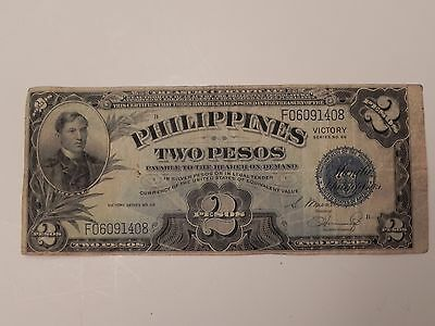 PHILIPPINES TWO PESOS VICTORY June 13,1922 BILL  CIRCULATED