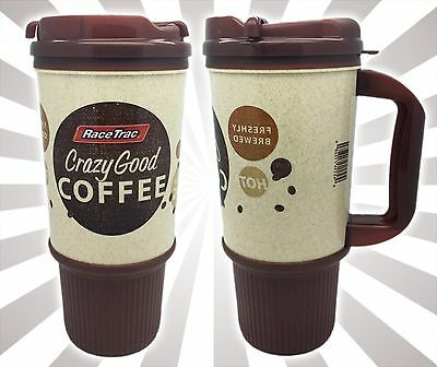 x1 RaceTrac Gas Station Coffee Mug Cup Brown Insulated Double Wall 24 OZ